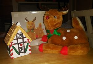 Candy cane house & musical red nose reindeer for Sale in Wichita, KS