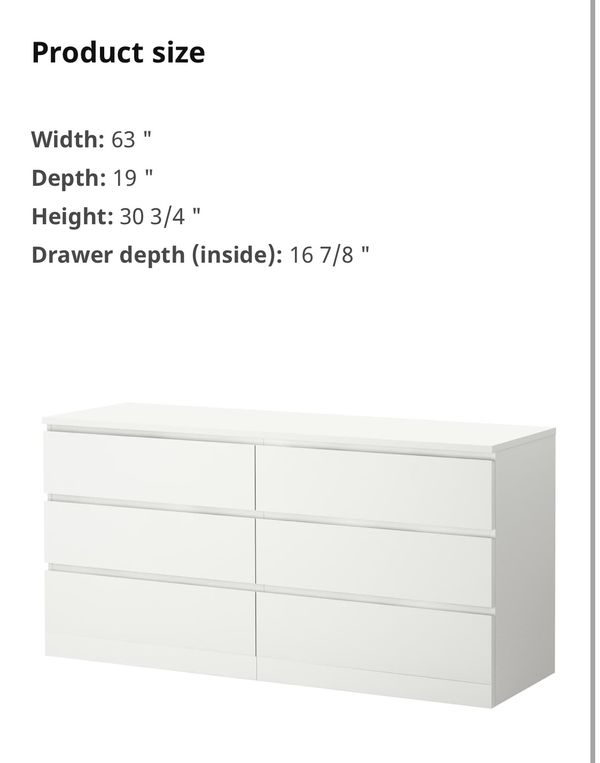 *PENDING PICK UP* IKEA MALM 6-Drawer Dresser (with glass top), White