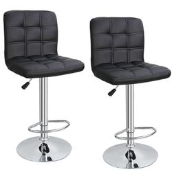 Square PU Leather Adjustable Bar Stools with Back Swivel Stool Set of 2 for Sale in Arlington,  TX