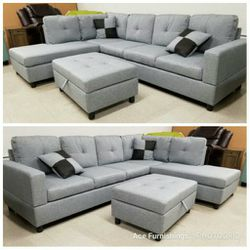 Brand New Light Grey Linen Sectional With Storage Ottoman for Sale in Renton,  WA