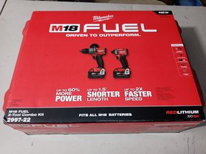 $270. New. Milwaukee M18 FUEL 18-V. Hammer Drill and Impact Driver Combo Kit (2-Tool) with Two 5Ah Batteries for Sale in Morrow, GA