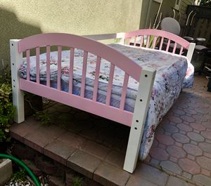 Wooden Twin Bed with Mattress & Desk with Hutch for Sale in Tracy, CA