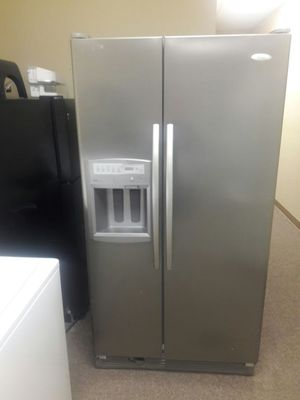 Whirlpool stainless steel side by side with warranty virgils preowned appliances for Sale in Hiram, GA