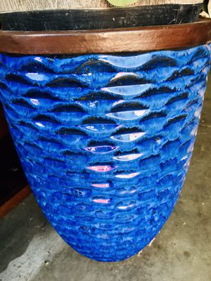 Blue Clay Planter Pots - Pair for Sale in Hercules, CA