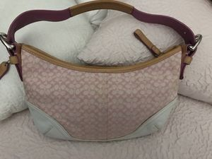 Coach Hobo Bag Pink W/White Leather Trim for Sale in Etna, OH