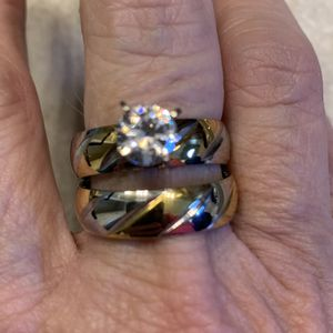New 2 Piece CZ Two Tone Wedding Ring Size 9 for Sale in Palatine, IL