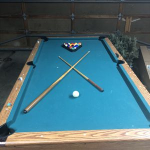 7X4 Pool Table, Two Sticks, And Balls. You Must Pick Up Yourself for Sale in Oregon City, OR