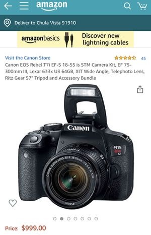 Canon EOS Rebel T7i EF-S 18-55 IS STM Bundle (New!) for Sale in Chula Vista, CA