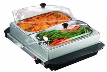 Double 3 Qt. Buffet Server and Warming Tray Servidor para Buffet Mantiene Comida Caliente Fiestas Servir Brushed Stainless Steel Brentwood BF-215 for Sale in Miami,  FL