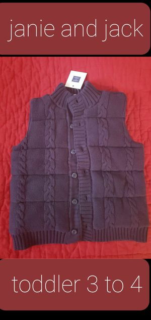 New janie and jack 3 to 4 years toddler boys navy dark blue buttoned sleeveless sweater warm NEW for Sale in Falls Church, VA