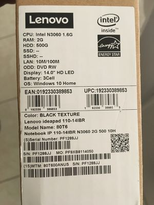 IBM LENOVO IDEAPAD 110 NEW LAPTOP IN A BOX for Sale in Henderson, NV