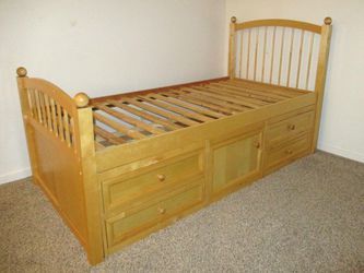 Solid Wood Twin-Size Captain's Bed Frame - Delivered for Sale in Tacoma,  WA