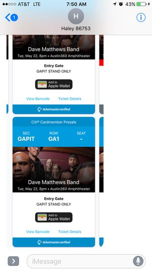 2 Dave Matthews band pit tickets Tuesday 5/22/18 for Sale in Austin, TX