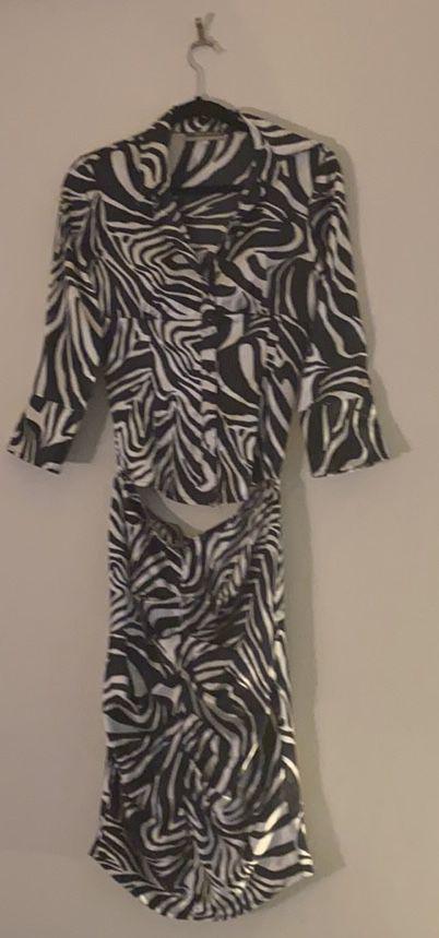 Zebra print shirt skirt - boutique