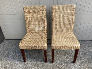 Pair of wicker dining room chairs for Sale in Beaverton, OR