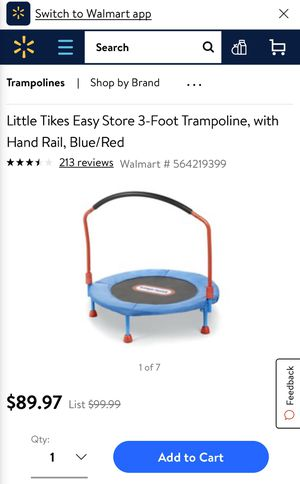 Little Tikes Easy Storage 3ft. trampoline with hand rail for Sale in Dubuque, IA