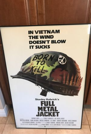 Full metal jacket framed behind glass movie poster for Sale in Phoenix, AZ