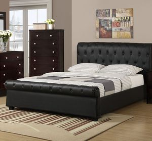 Brand New Queen Size Leather Tufted Platform Bed Frame ONLY for Sale in Silver Spring, MD