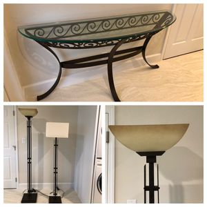 Foyer / sofa table and two floor lamps dark brown iron for Sale in Pompano Beach, FL