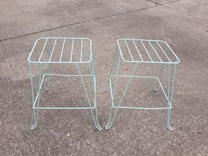 Vintage mcm pair wire plant stands for Sale in Elyria, OH