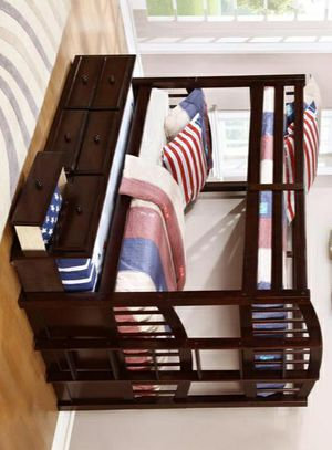 549/Menlo Espresso Twin Over Twin Bunk Bed with Storage Drawers and Twin Trundle for Sale in Houston, TX