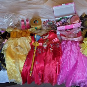 Lot Of Disney Dresses And Other Costumes With Many Accessories And Disney Dress Up Station for Sale in Monrovia, CA