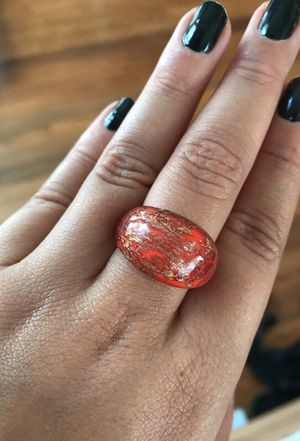 Glass-like Orange Sparkly ring size 6-7 for Sale in Orlando, FL