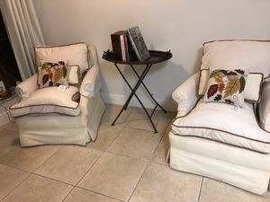 Set of two antique sofa chairs feather cushions for Sale in Tamarac, FL
