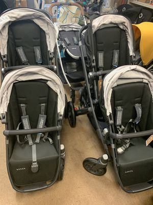 Uppababy vista double stroller with bassinet for Sale in Fullerton, CA
