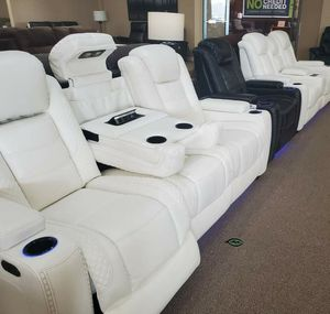 📍📍💲39 Down Payment.📍EXCLUSIVE] Party Time White LED Power Reclining Living Room Set with Adjustable Headrest for Sale in Arlington, VA