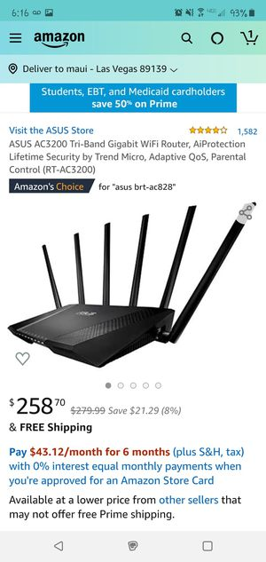ASUS AC3200 Tri-Band Gigabit WiFi Router for Sale in Las Vegas, NV