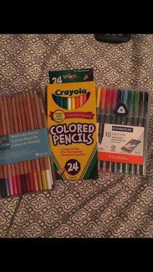 Art Supplies- colored pencils, watercolors, pens, and pencil case for Sale in Boynton Beach, FL
