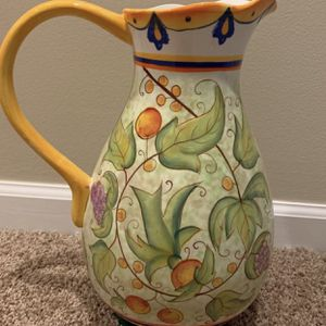 """OCCASIONS BEAUTIFUL & VERSATILE Pitcher/Vase 13"""" Tall. Stunning Colors. Hand Painted Ceramics. Lovely DECORATIONS ! SEE PHOTOS for Sale in Naperville, IL"""
