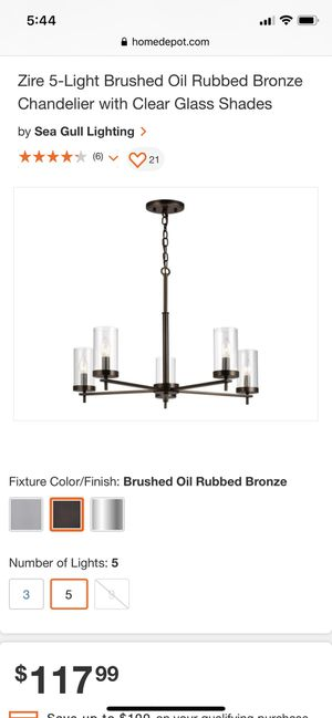 Zire 5-Light Brushed Oil Rubbed Bronze Chandelier with Clear Glass Shades for Sale in Austin, TX