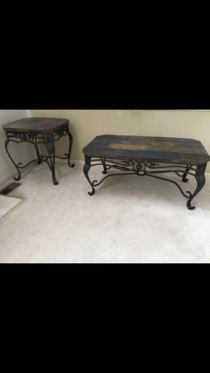 Heavy duty iron and stone side and coffee table for Sale in East Dundee, IL