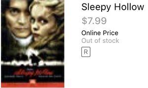 Sleepy hollow horror movie Johnny depp dvds for Sale in Glendale, AZ