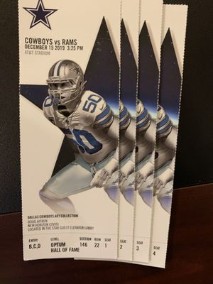 (4) Great Lower LA Rams @ Dallas Cowboys Tickets Sec 146 $320 each for Sale in Irving, TX