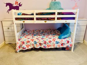 Bunk beds and two white dressers $60 total. DOES NOT INCLUDE MATTRESSES for Sale in Gilbert, AZ