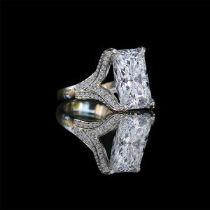 15ct. Radiant center hovering over fully double pave eagle claw style prongs ring 635r71648 for Sale in San Francisco, CA