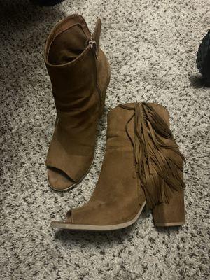 Brown fringe open toe bootie for Sale in Matthews, NC