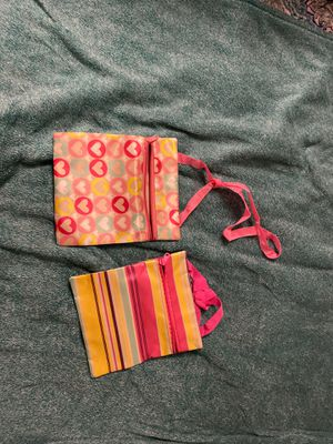 2 Cute Zipper Purses/Handbags Pink Yellow Green - Heart and Stripes Pattern for Sale in Ithaca, NY