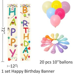 Large Happy Birthday Banner ,Colorful Porch Sign and Macaroon Balloons for Birthday Decorations for Sale in Chicago, IL