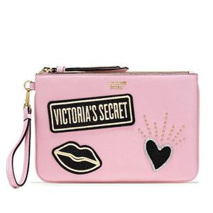 Victoria Secret Pink Heart Lips Patch Wristlet and Pouch Bag for Sale in Miami, FL