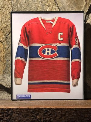 """Page from the Past : Picture of 1950's Montreal Canadians jersey in a """"8 x 10"""" glass frame. for Sale in Snellville, GA"""
