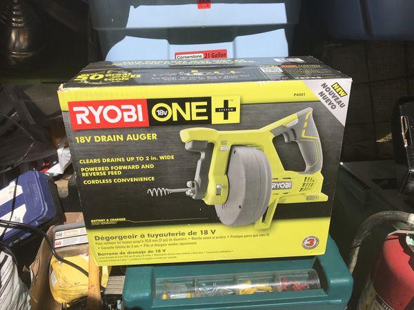 Ryobi 18v drain auger used once