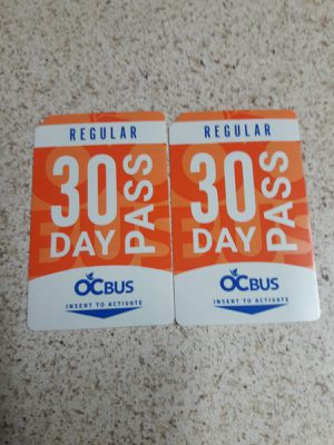 Bus passes adults 30 days regular new for Sale in Tustin, CA