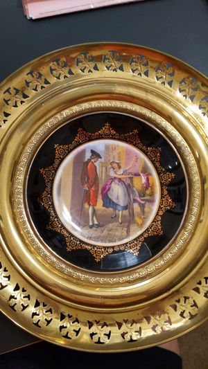 Antique Regency Bone China Gilded Plate in Brass Holder for Sale in Winchester, CA