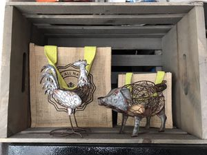 Farm rustic decor Pier 1 imports / candle holders/ rooster pig/ for Sale in San Diego, CA