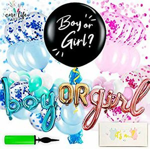 Gender Reveal Party Supplies - Decorations Kit for Baby Boy or Girl with Confetti, Pink and Blue Balloons, Large Black Balloon, for Sale in Torrance, CA