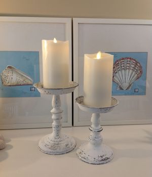 "JUST ARRIVED ~ 2 NEW DISTRESSED WHITE CANDLE HOLDERS ~ 7 1/4"" H X 9"" H for Sale in Thousand Oaks, CA"